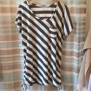 Striped T-shirt with ruched drawstring sides